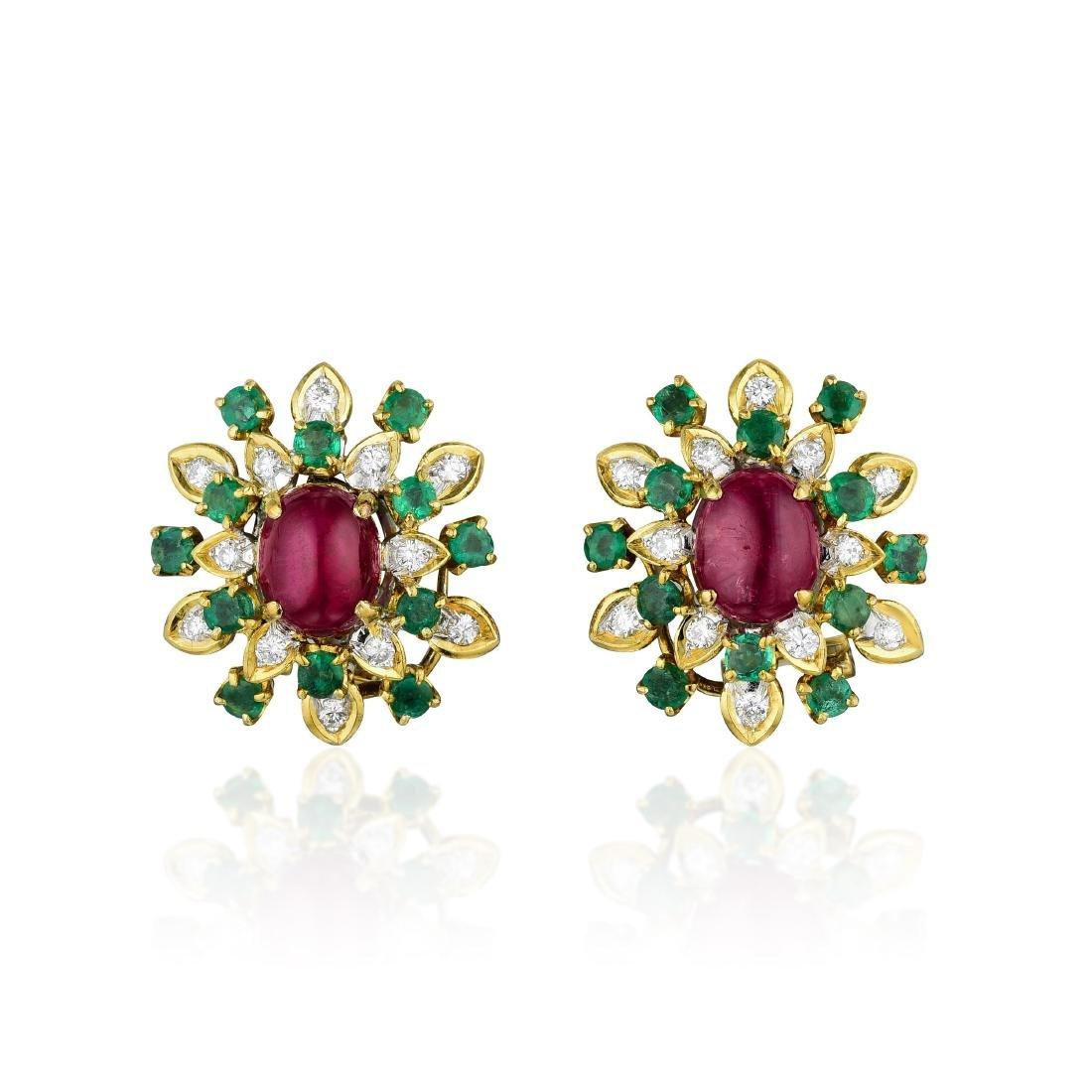 Ruby Emerald and Diamond Earrings