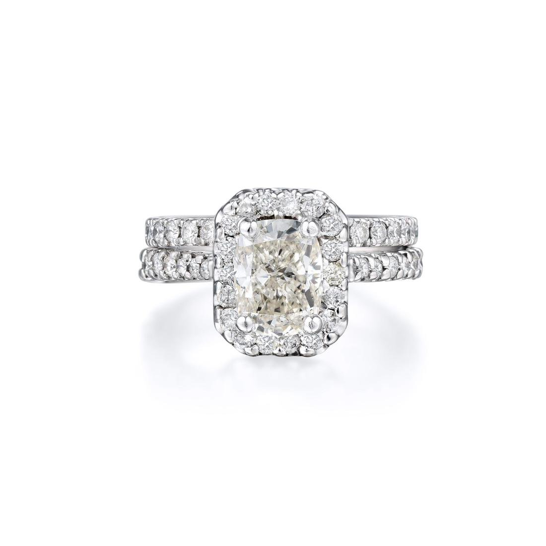 A 1.45-Carat Cushion-cut Diamond Ring Bridal Set