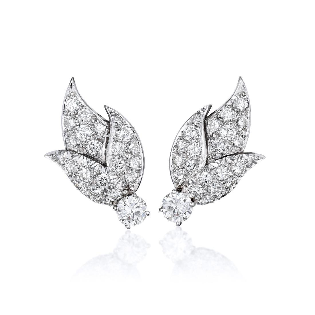 Erwin Pearl Diamond Platinum Earrings