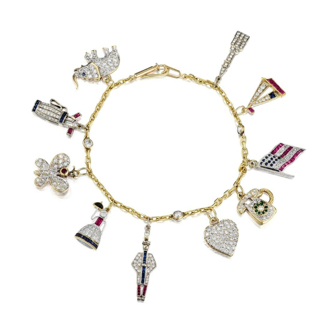 A Diamond and Synthetic Colored Stone Charm Bracelet