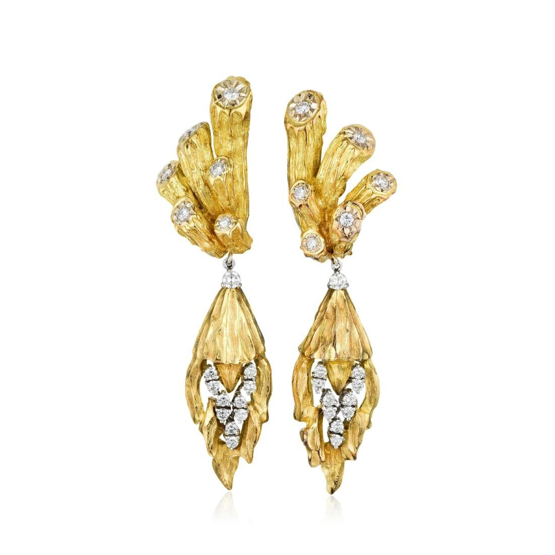 Diamond and Gold Pendant Earrings