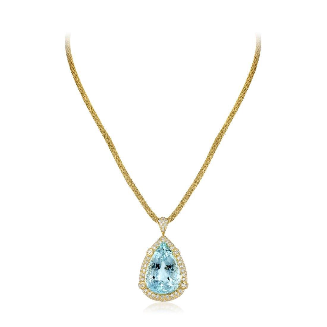 An Aquamarine and Diamond Pendant/Brooch Necklace