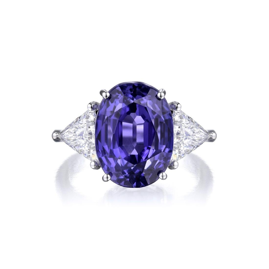 An 11.84 Carat Ceylon Sapphire and Diamond Ring