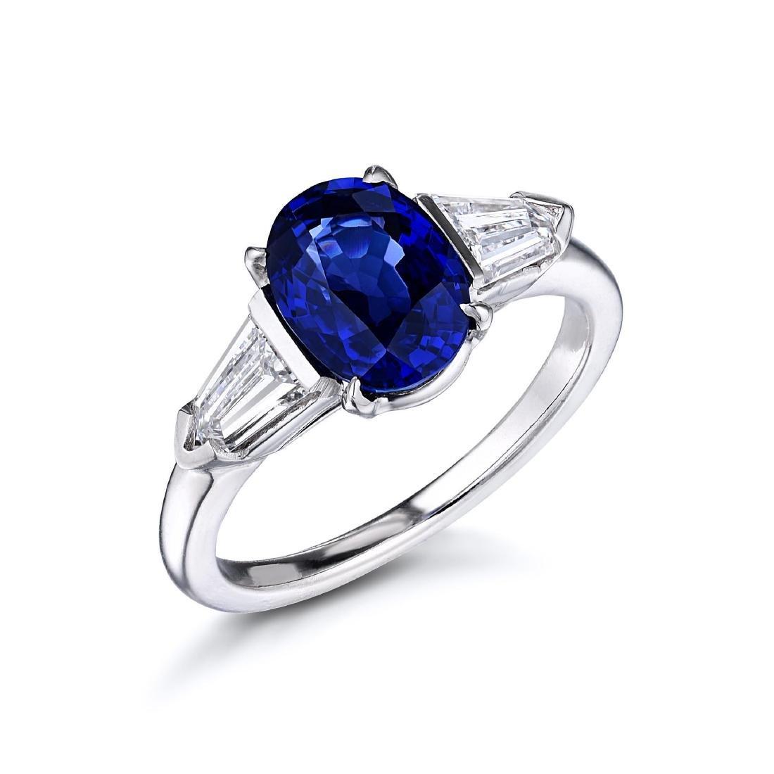 A 2.40-Carat Sapphire and Diamond Platinum Ring