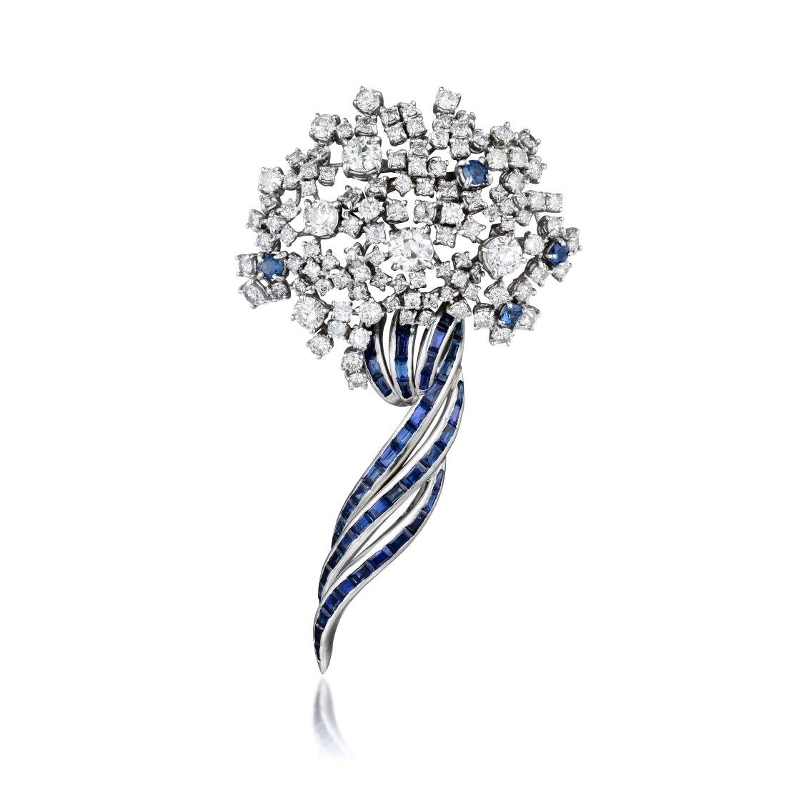 A Diamond and Sapphire Platinum Brooch