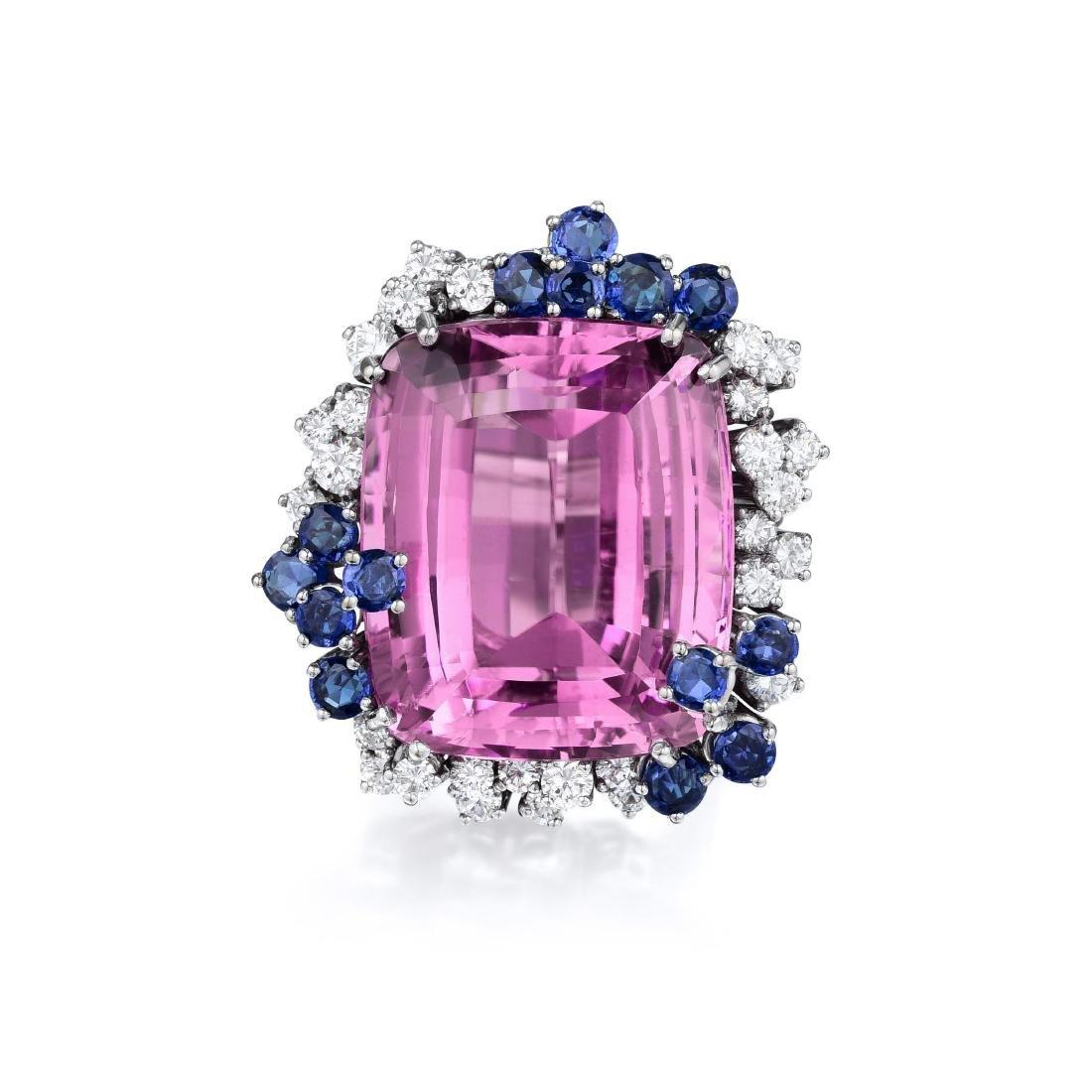 Kunzite Sapphire and Diamond Ring