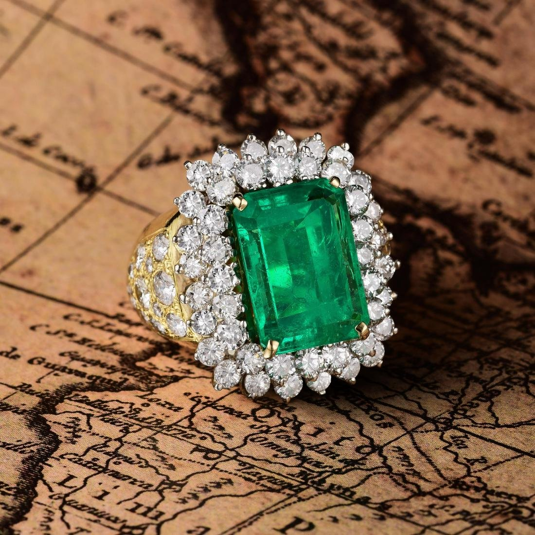A 7.48-Carat Colombian Emerald and Diamond Ring