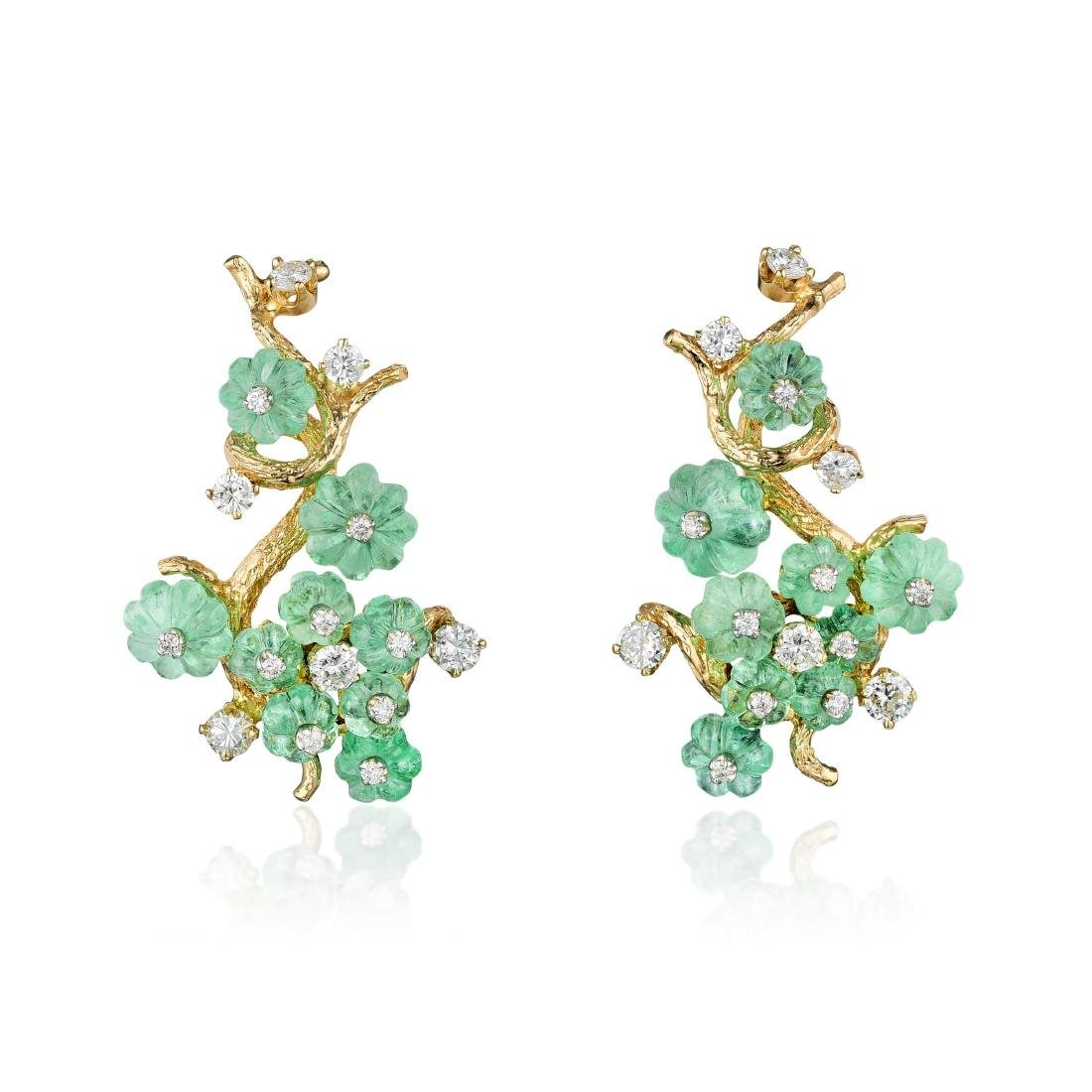 Carved Emerald and Diamond Earclips