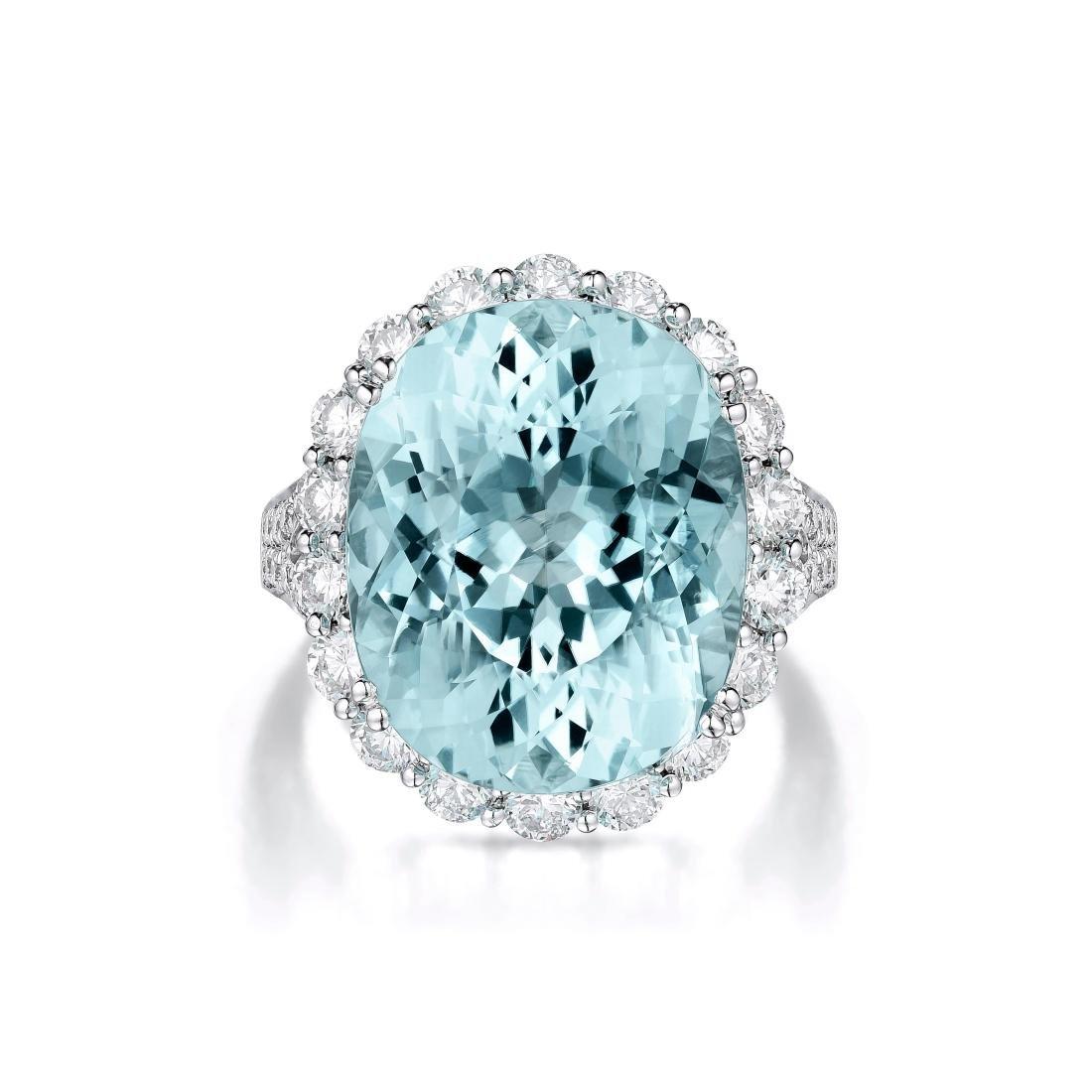 A 19.18-Carat Paraiba and Diamond Ring