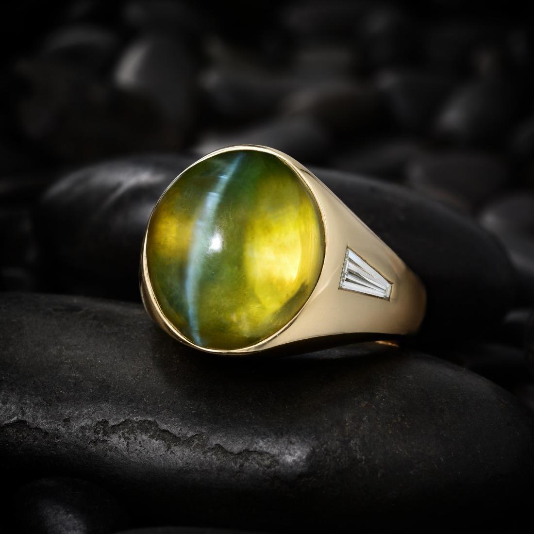 A Cat's Eye Chrysoberyl and Diamond Gentlemen's Ring