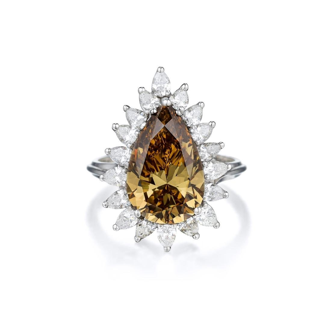 A 6.95-Carat Fancy Deep Brown-Yellow Diamond Platinum