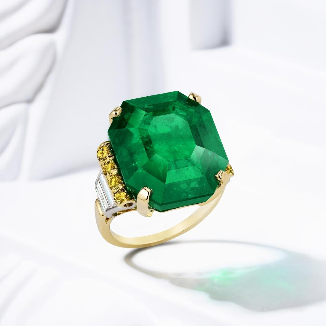 A 21.65-Carat Colombian Emerald and Diamond Ring