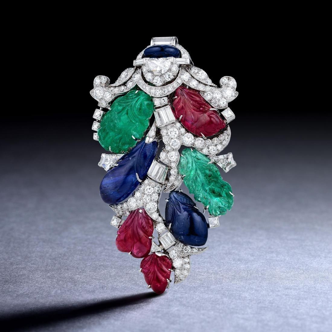 Oscar Heyman Art Deco Ruby Emerald Sapphire and Diamond