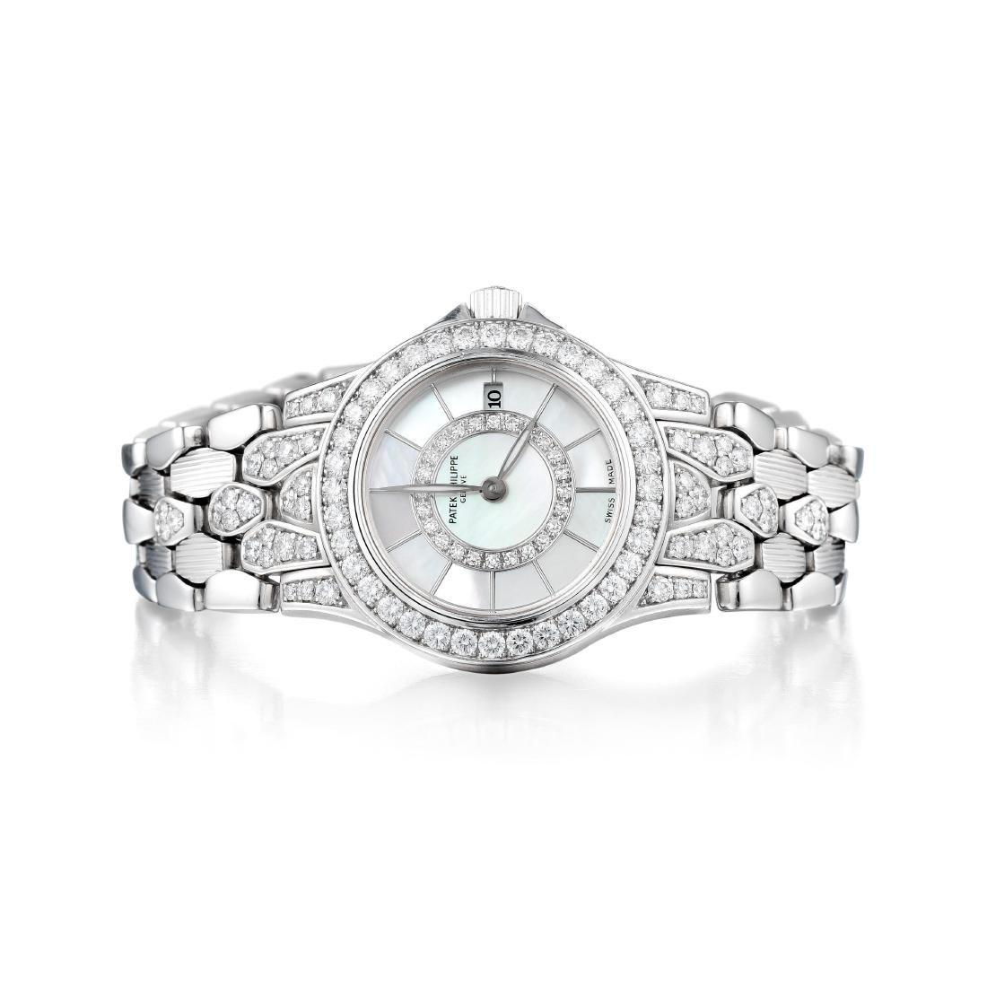 Patek Philippe Neptune Diamond White Gold Ladies Watch