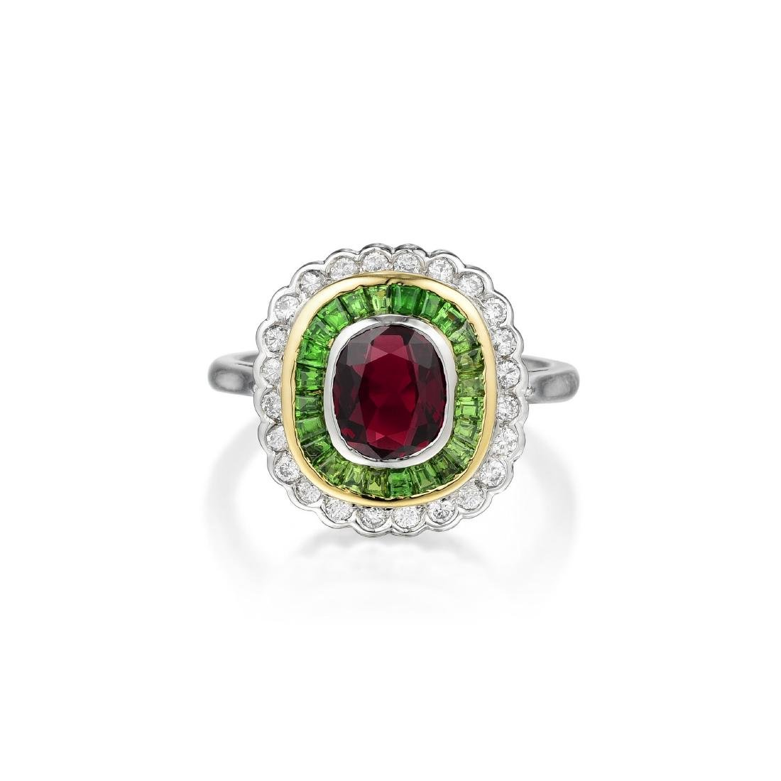 A Platinum and 18K Gold Ruby, Demantoid Garnet and