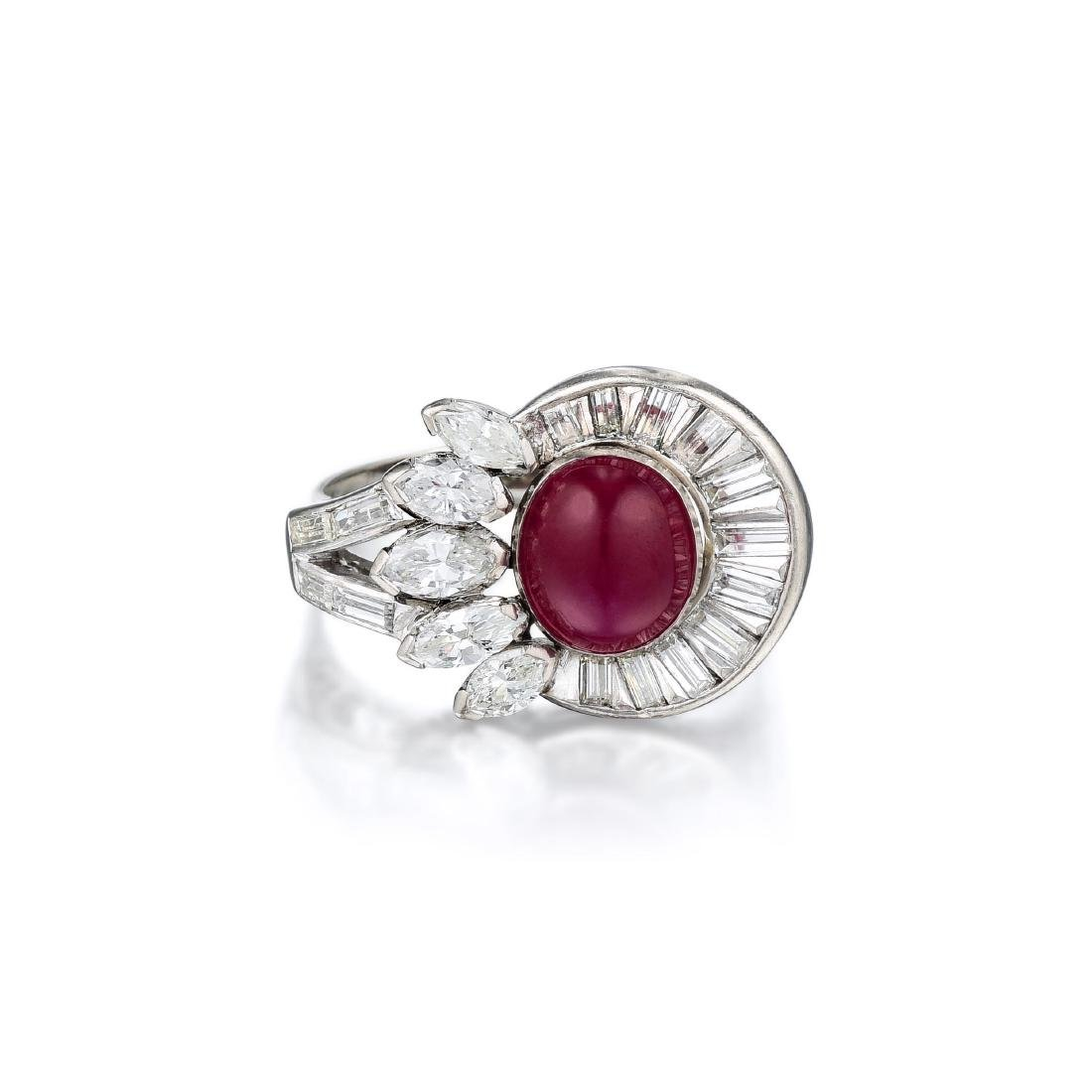 A 14K White Gold Ruby and Diamond Ring