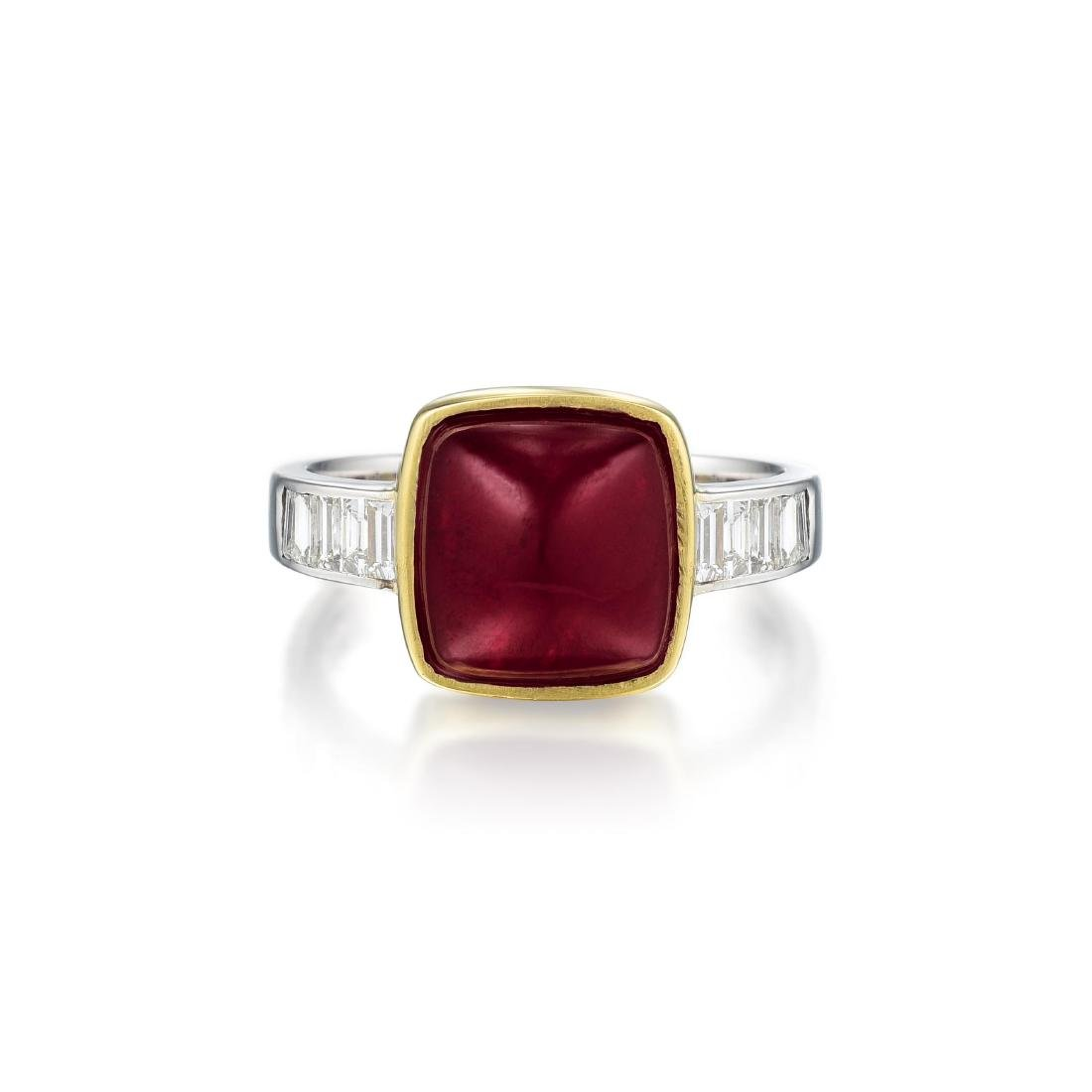 An 18K White and Yellow Gold Ruby and Diamond Ring