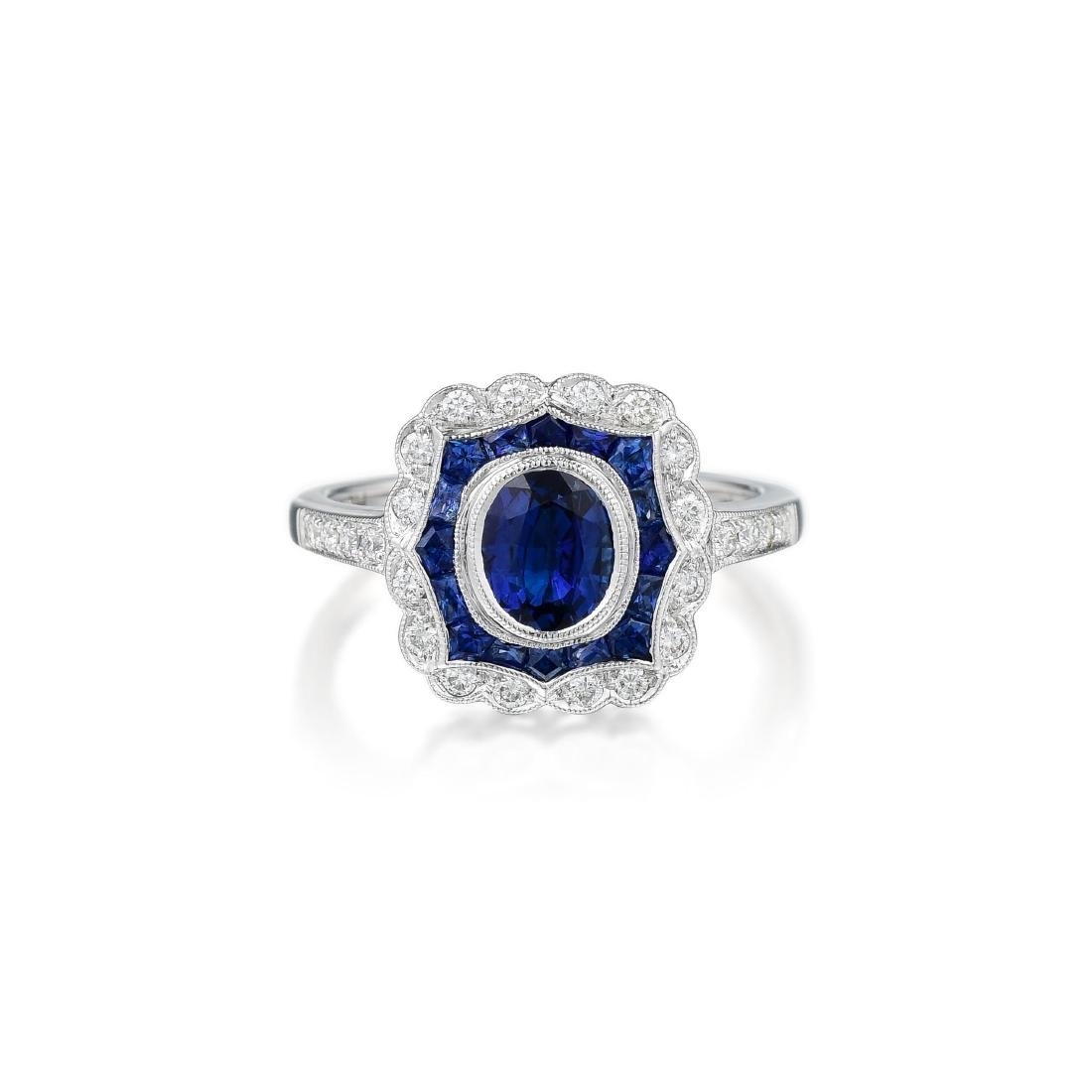 A 14K White Gold Sapphire and Diamond Ring