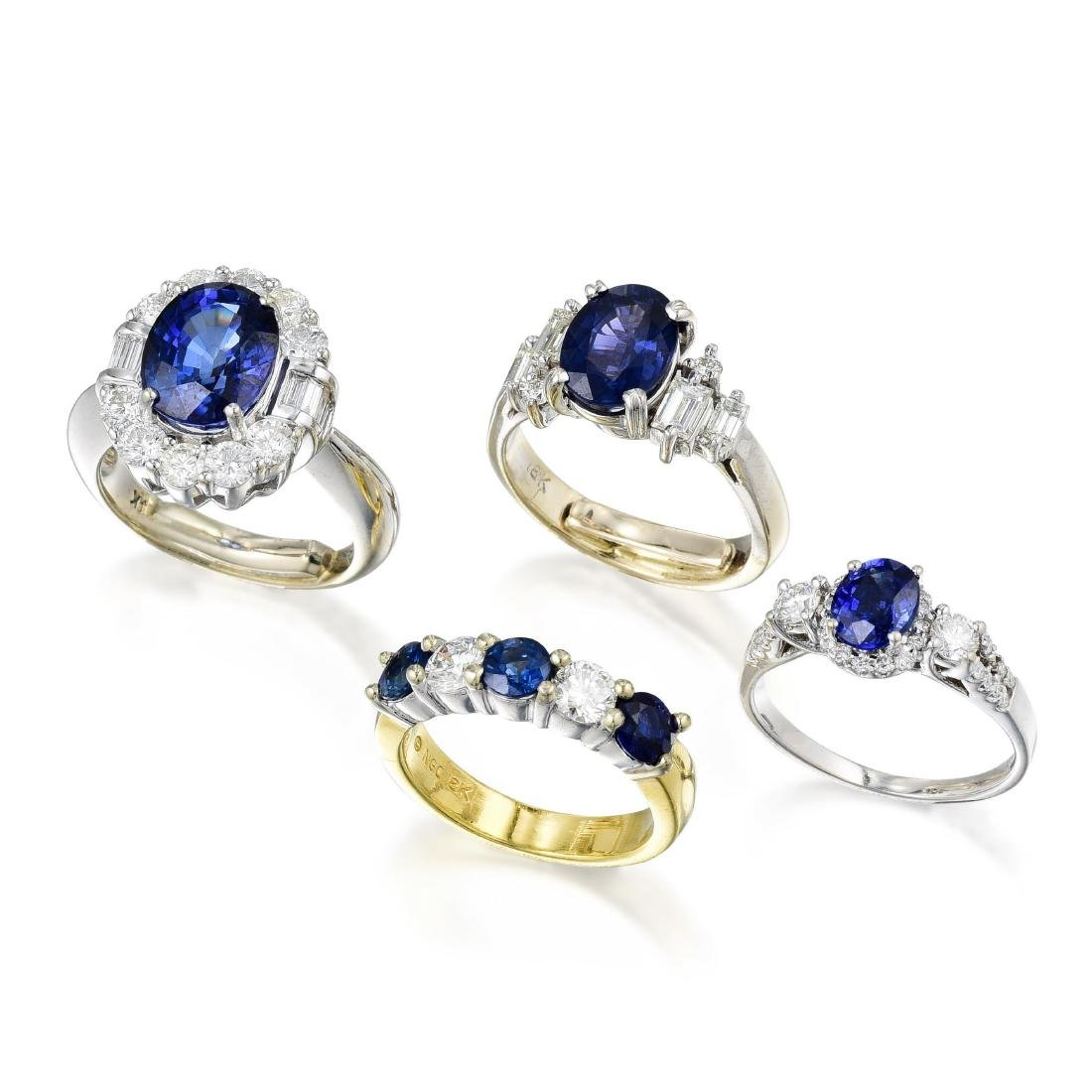 A Group of Sapphire and Diamond Rings