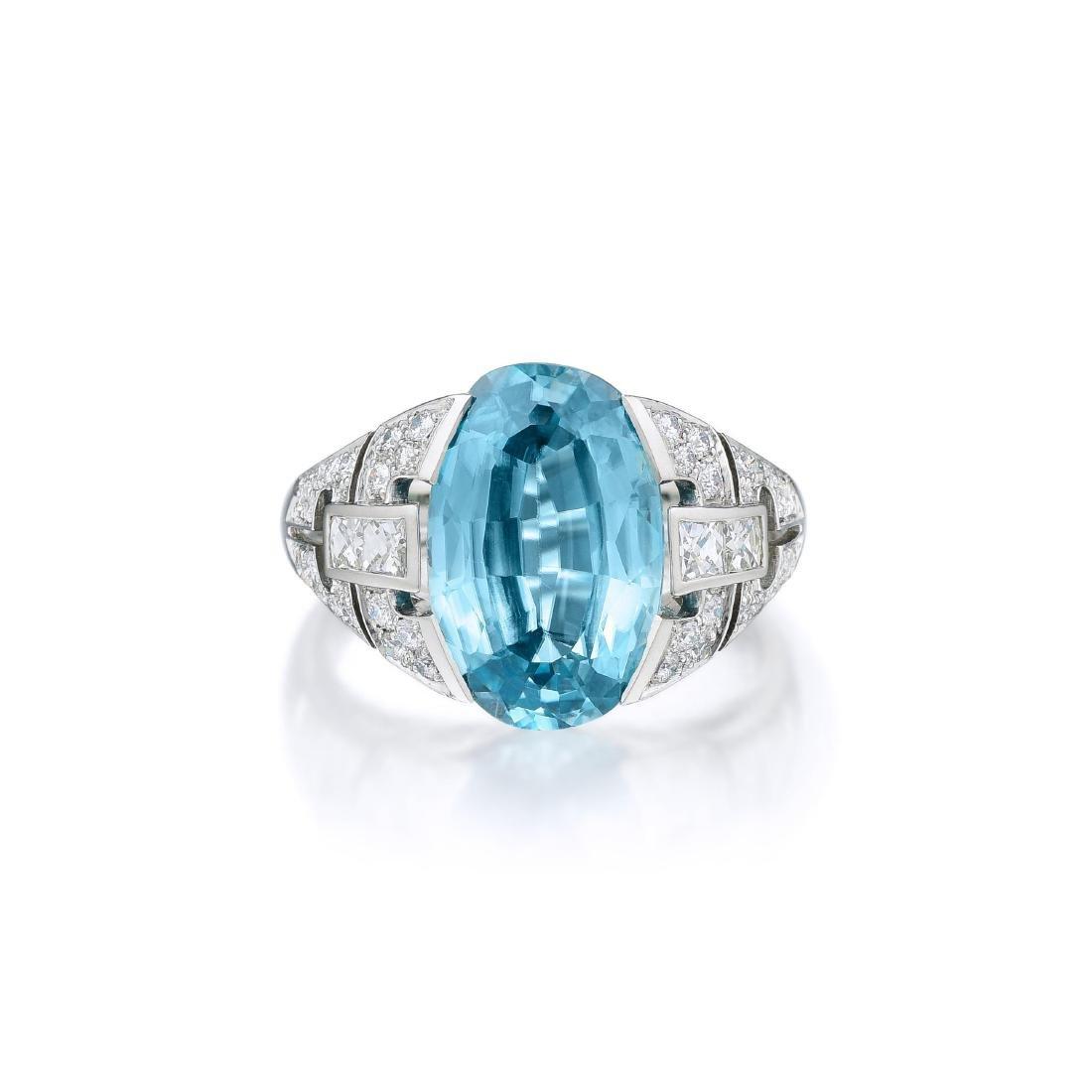 A Platinum Zircon and Diamond Ring