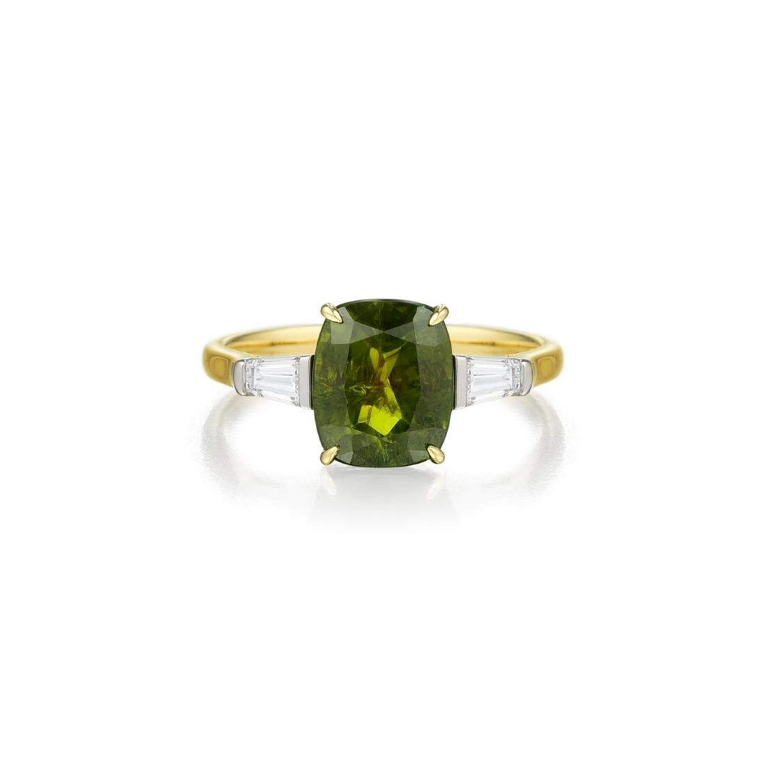 An 18K Gold Demantoid Garnet and Diamond Ring