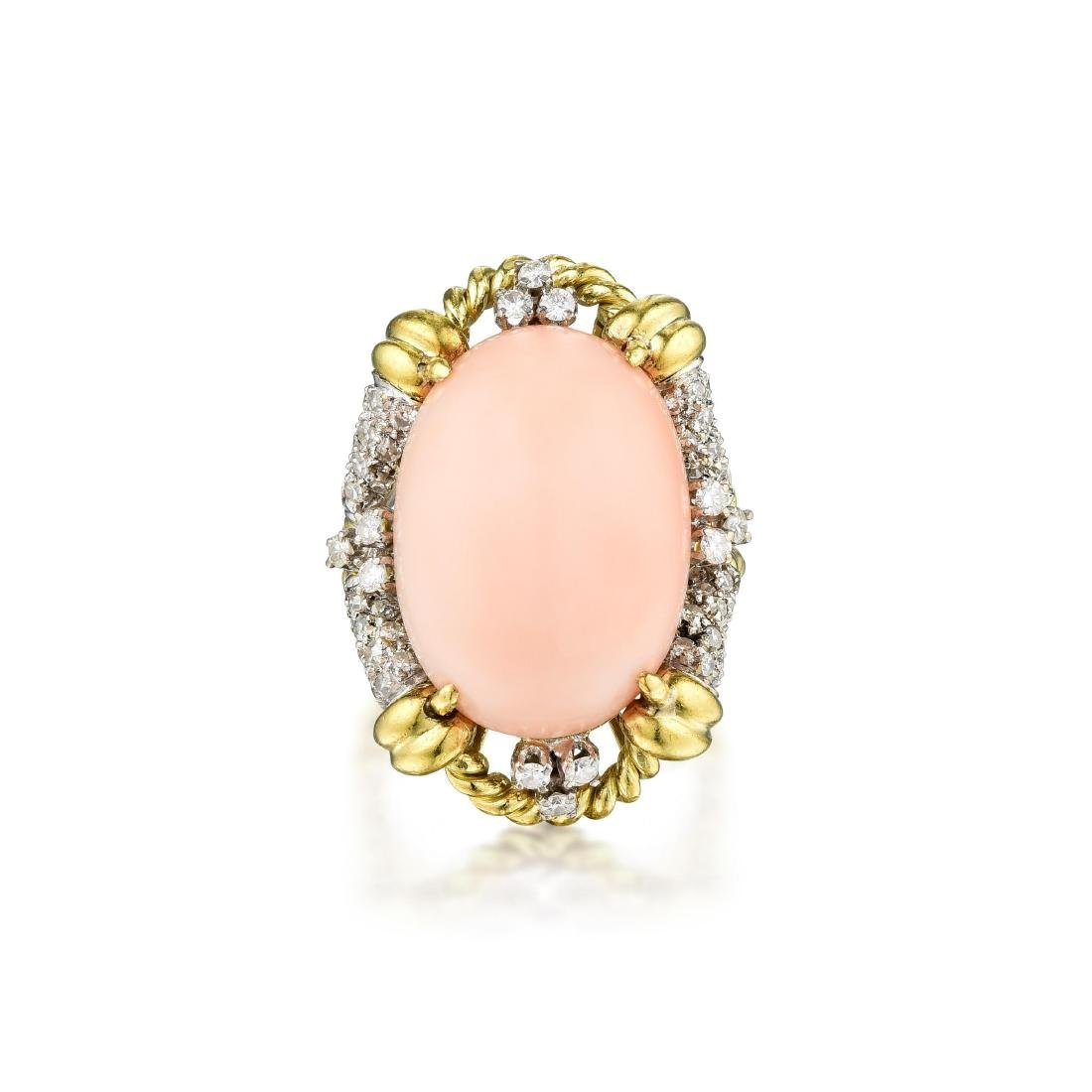 An 18K Gold Coral and Diamond Ring