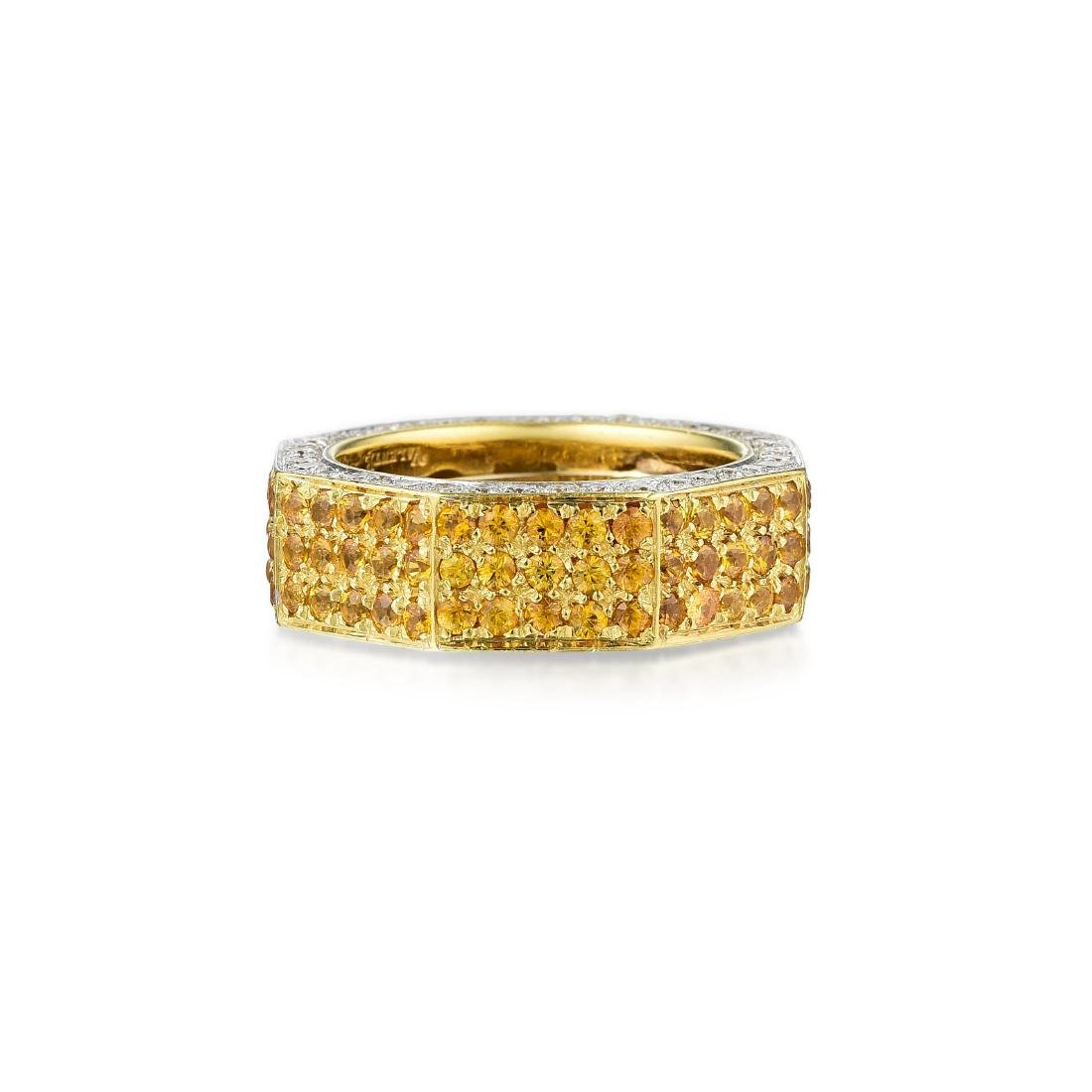 Valente 18K Gold Yellow Sapphire and Diamond Band