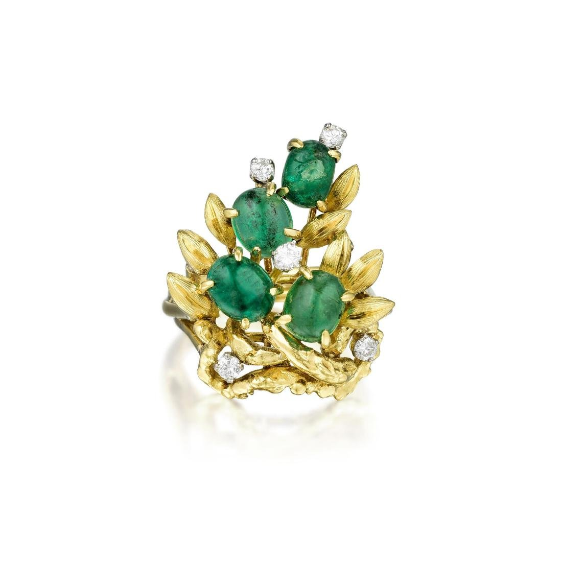 An 18K Gold Emerald and Diamond Ring