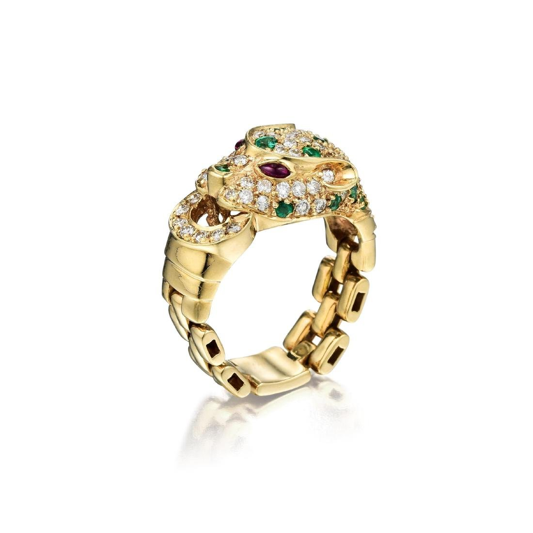 A 14K Gold Ruby Emerald and Diamond Panther Ring