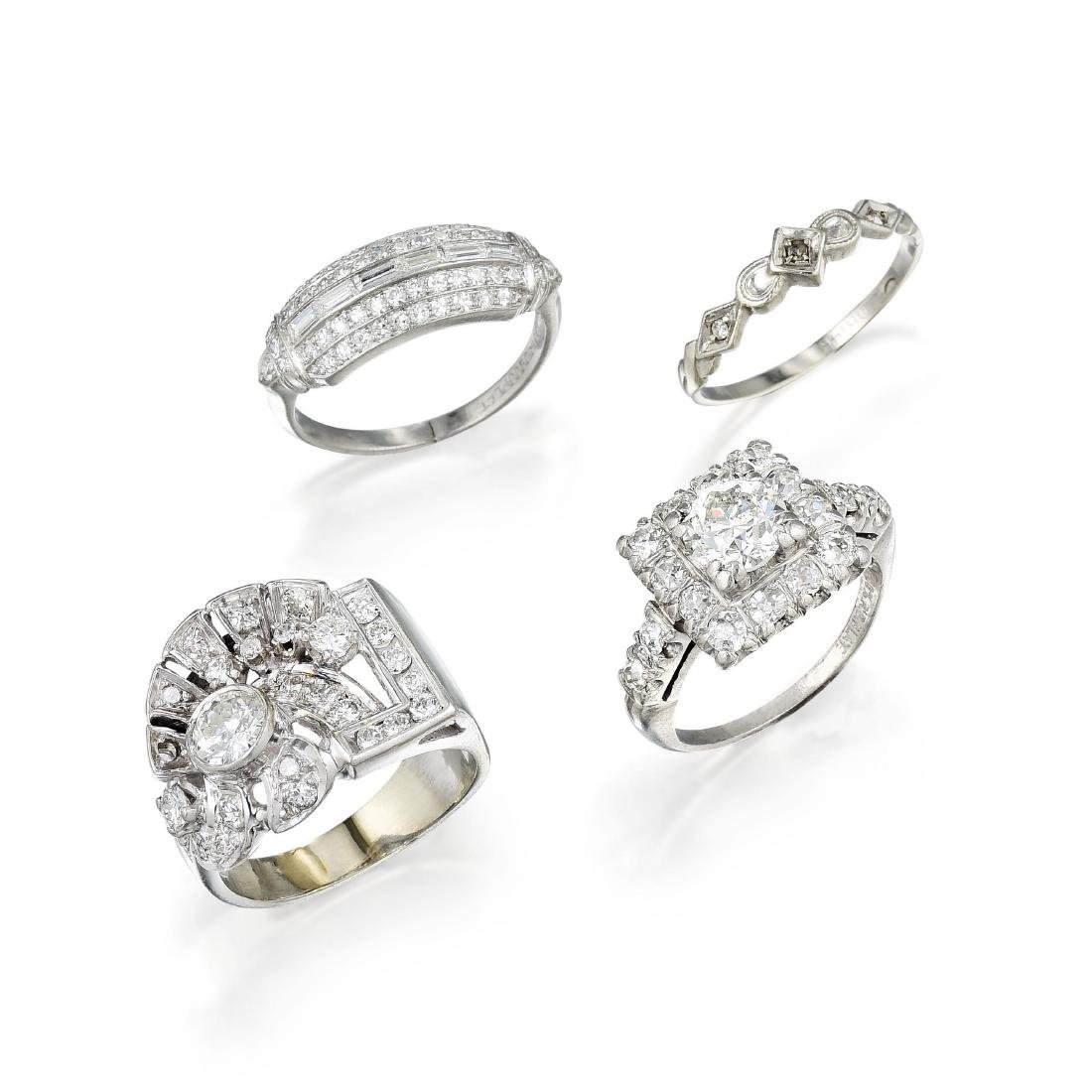 A Group of Art Deco Diamond Rings
