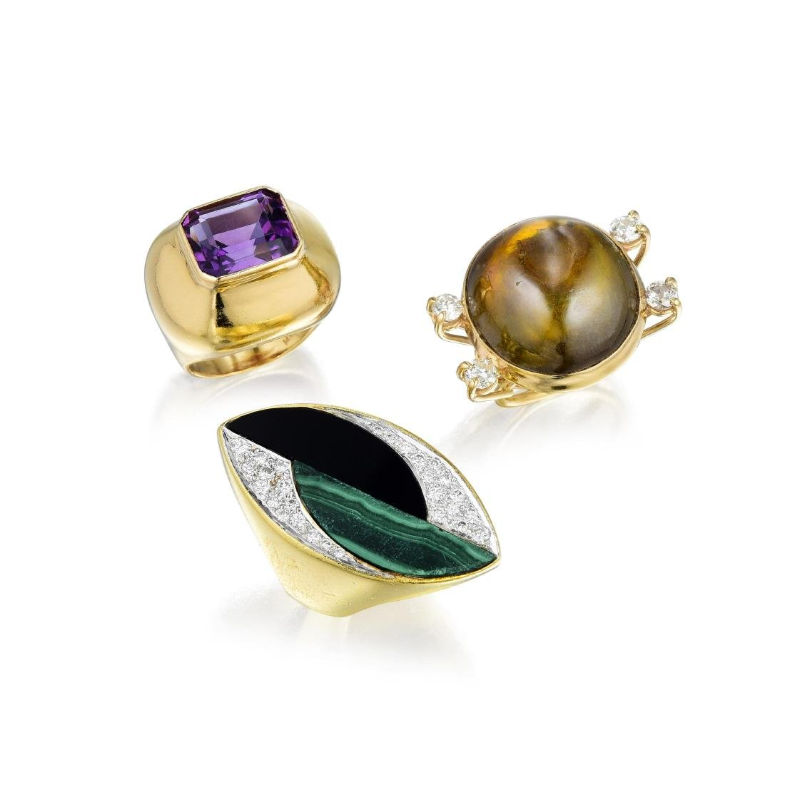 A Group of Gold Diamond and Gemstone Rings