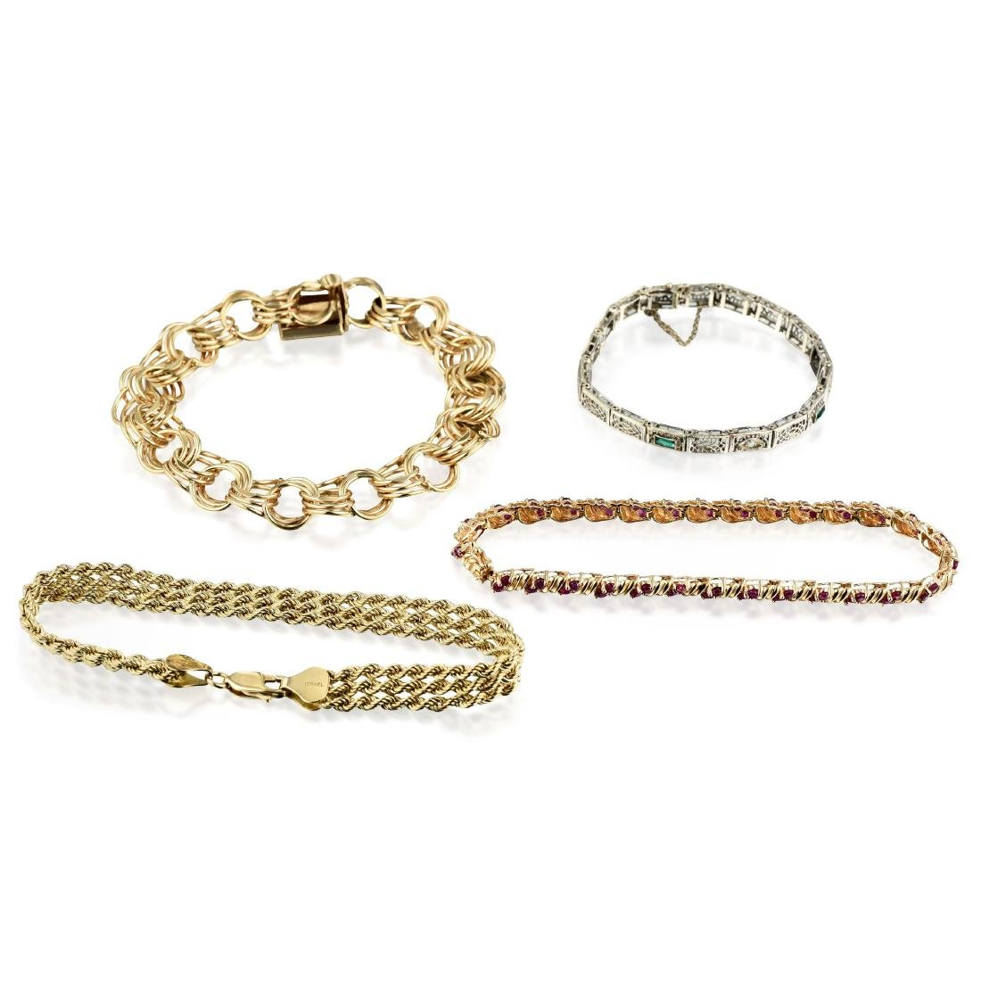 A Group of 14K Gold Bracelets