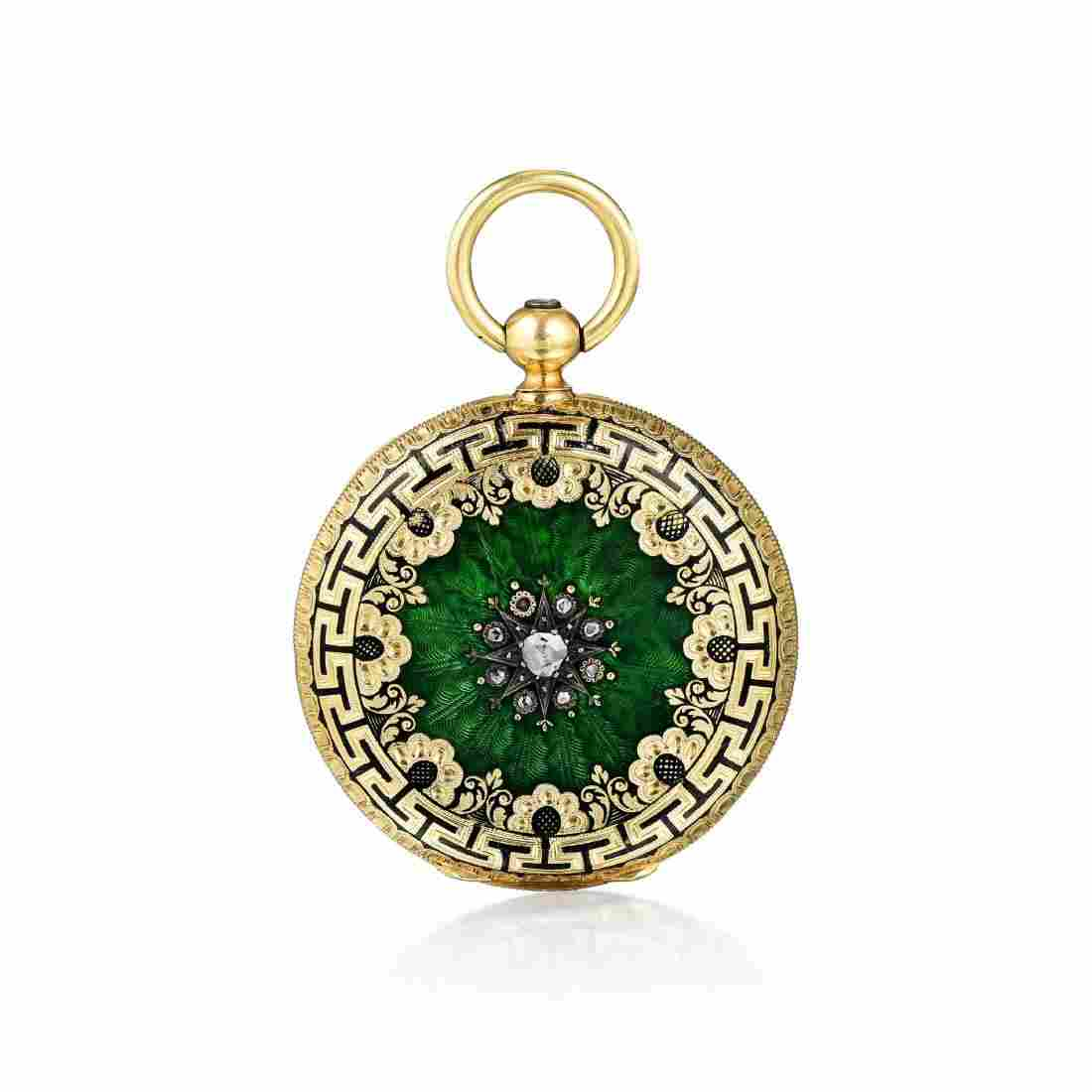 Antique 18K Gold Diamond and Enamel Gent's Pocket Watch