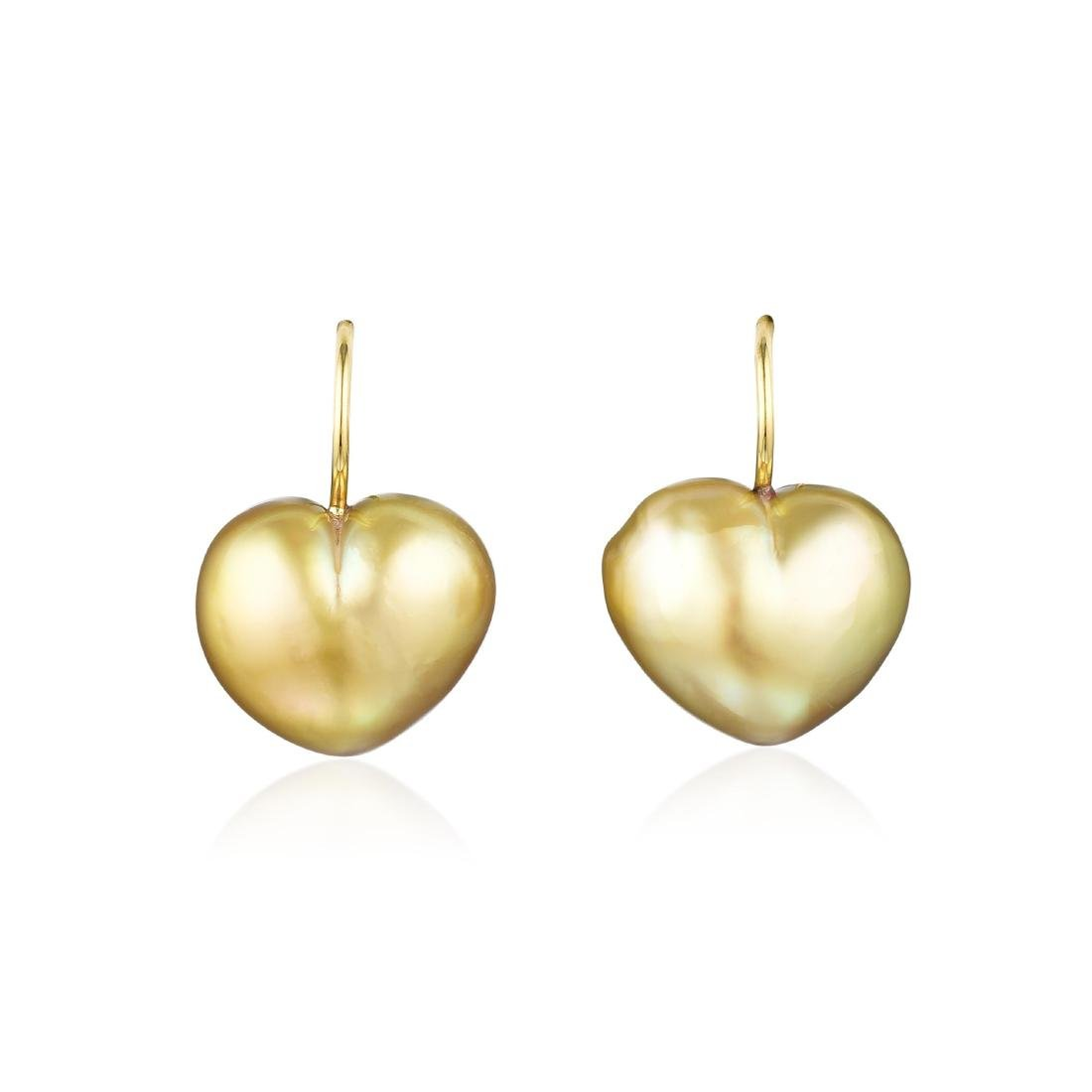 A Pair of 18K Gold Heart Shaped Cultured Pearl Earrings