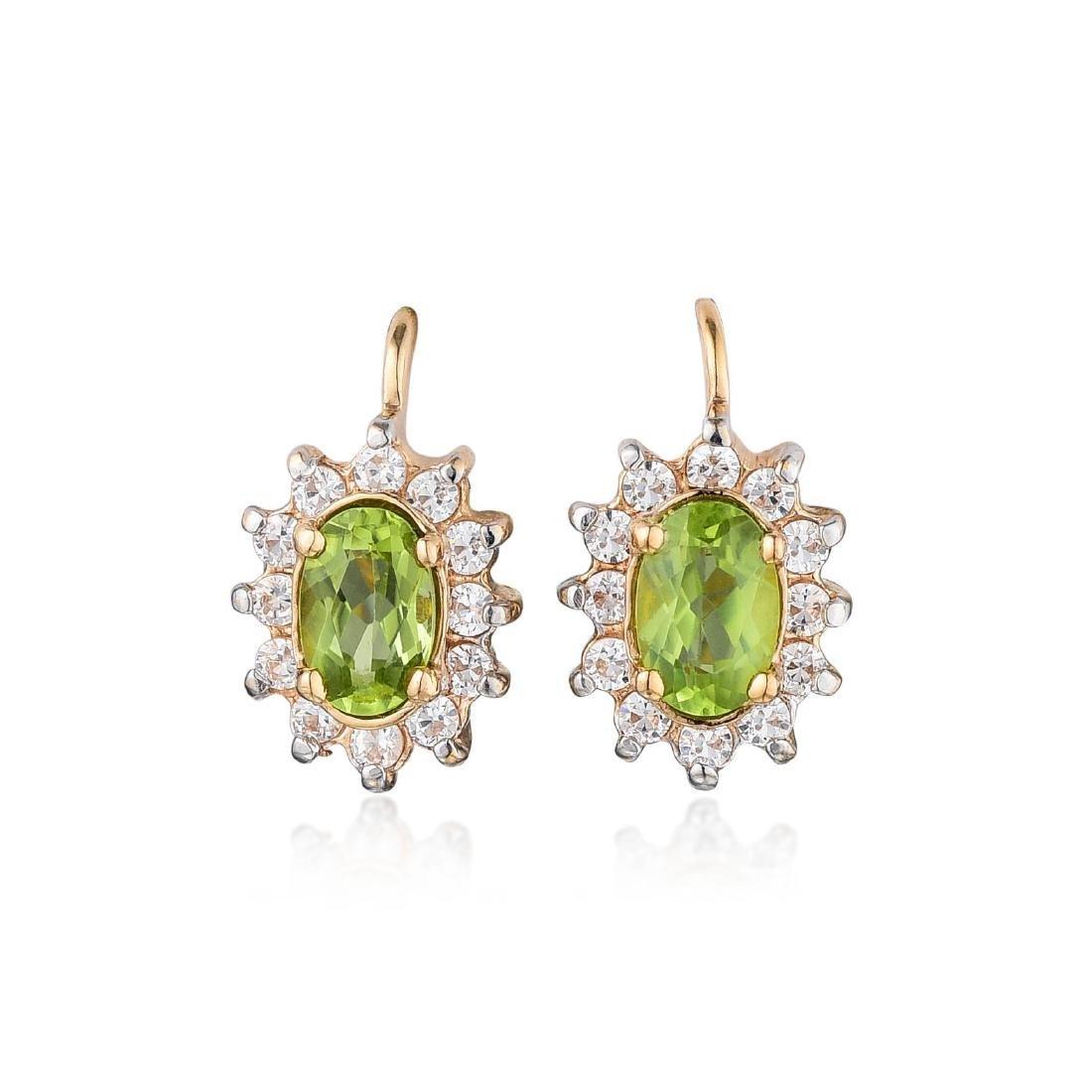 A Pair of 14K Rose Gold Peridot and Diamond Earrings,
