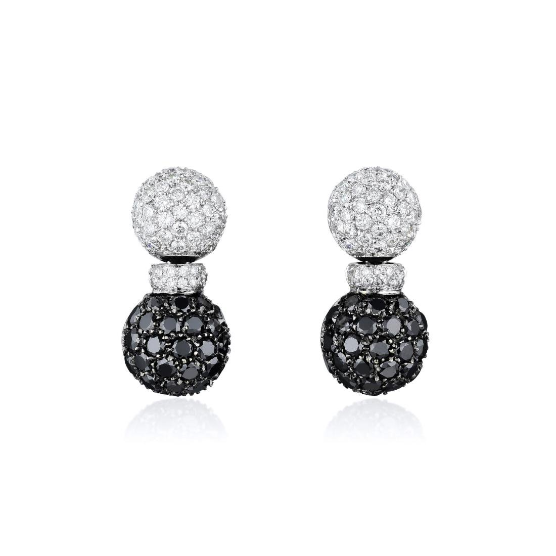 Valente 18K White Gold Diamond Earclips