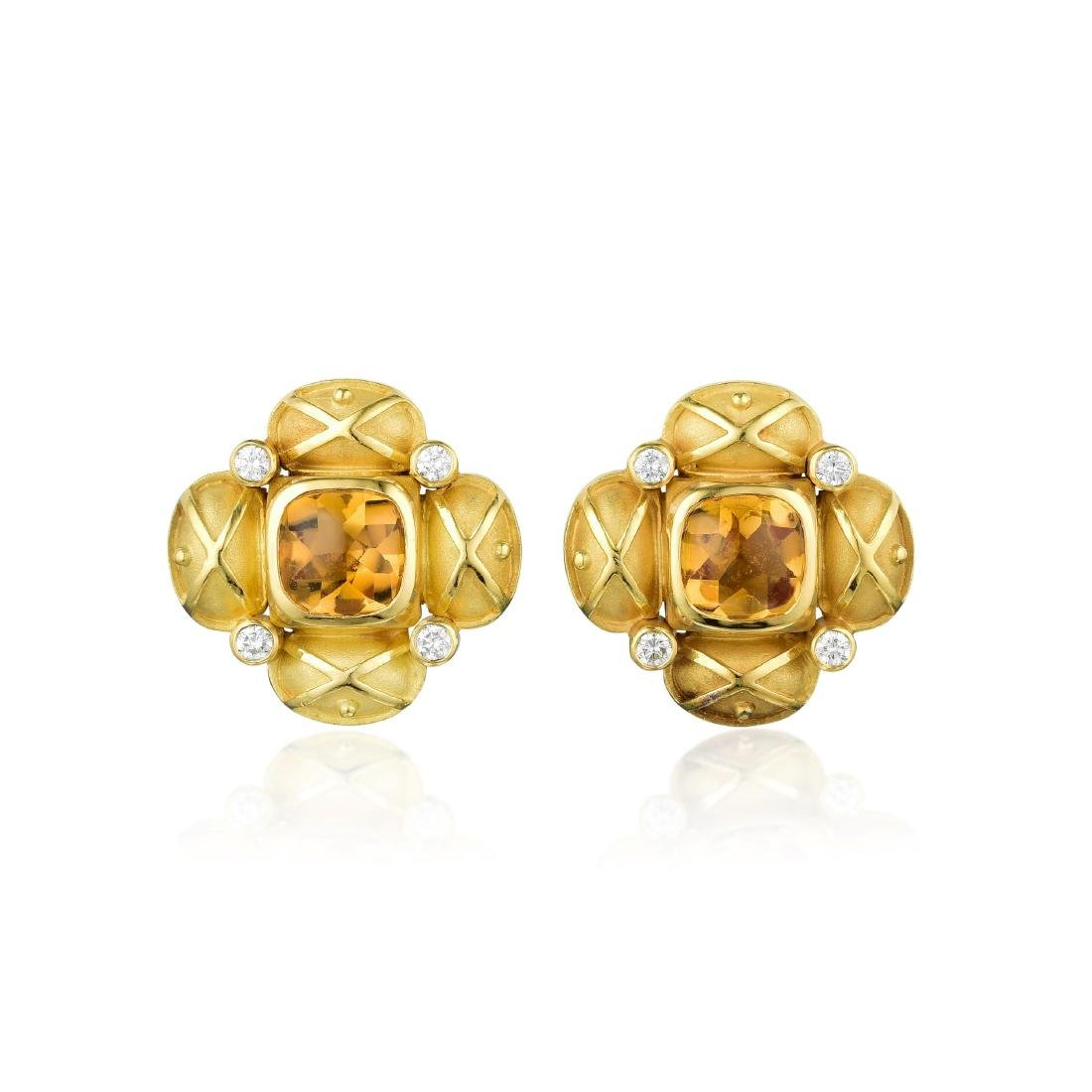 Charles Turi 18K Gold Citrine and Diamond Earrings