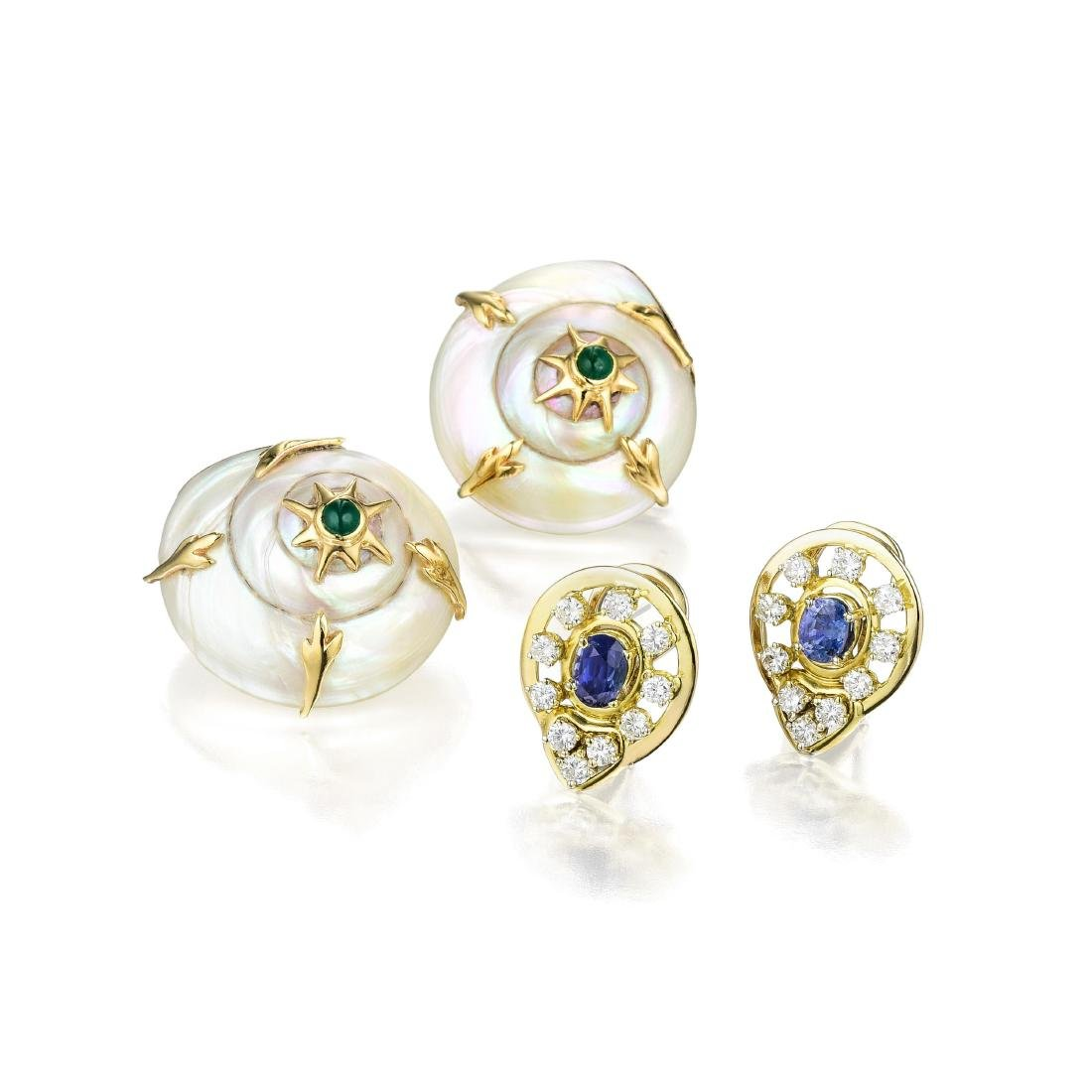 Two Pairs of 14K Gold Diamond and Gemstone Earrings