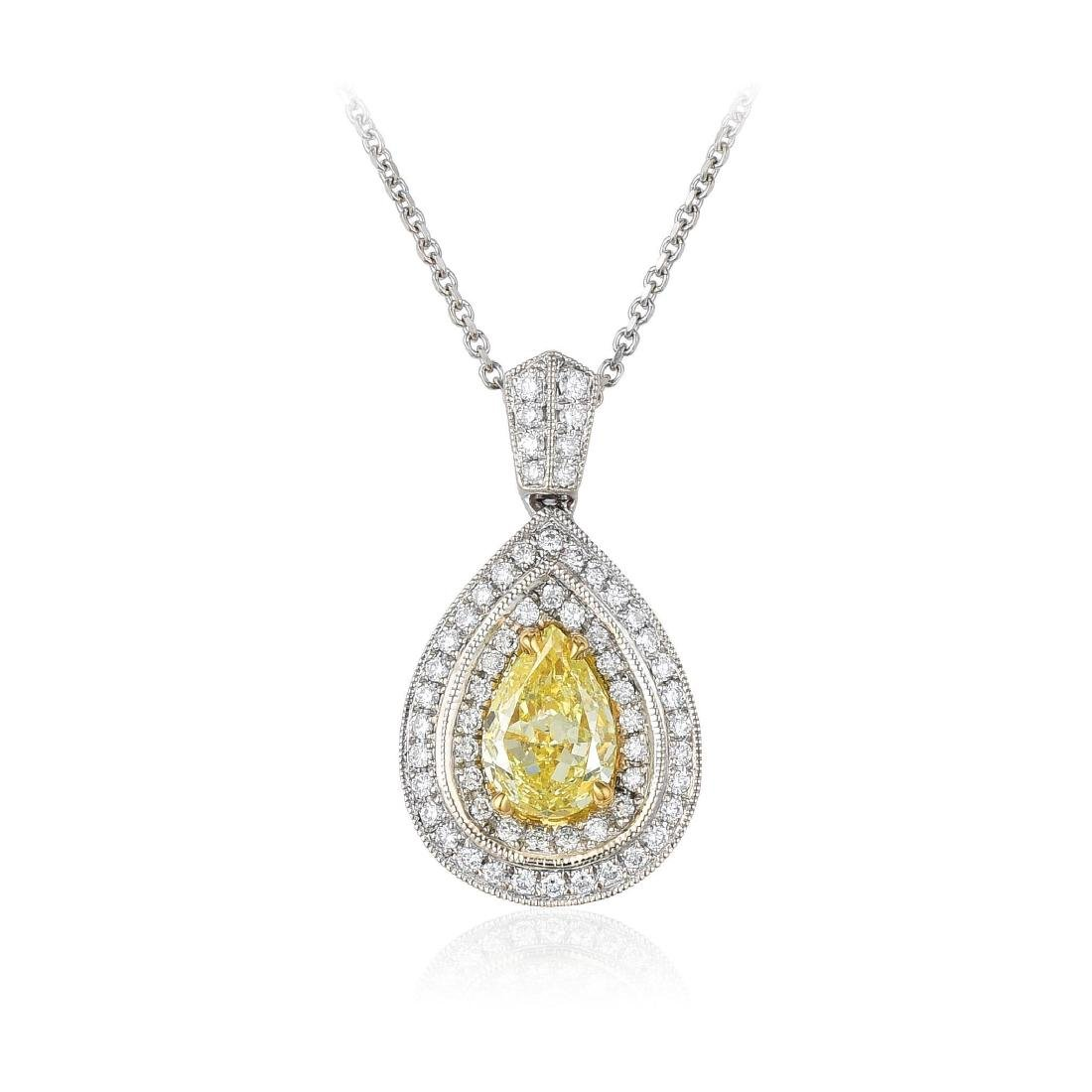 An 18K Gold Yellow Diamond Pendant Necklace