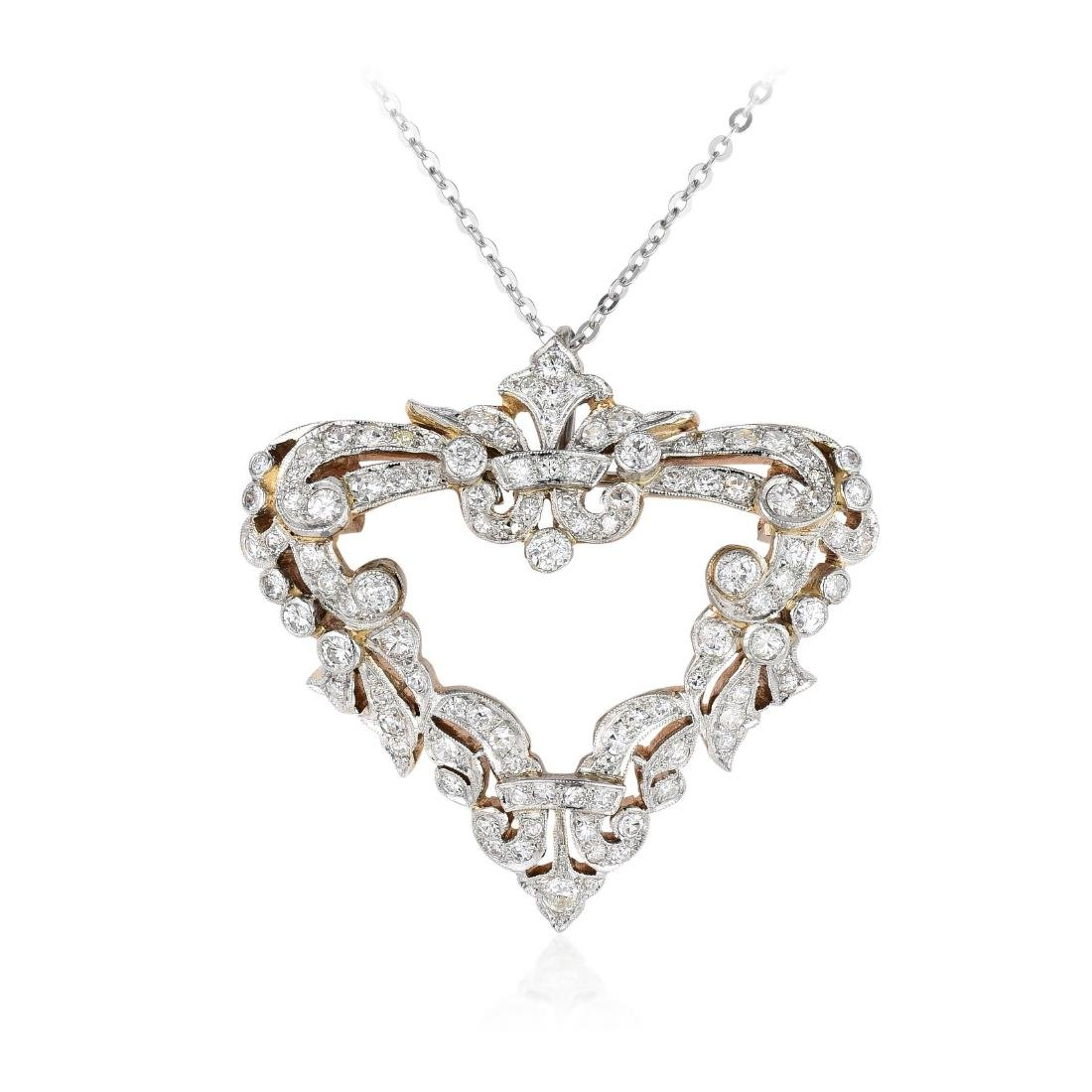 An Edwardian Diamond Brooch/Pendant Necklace