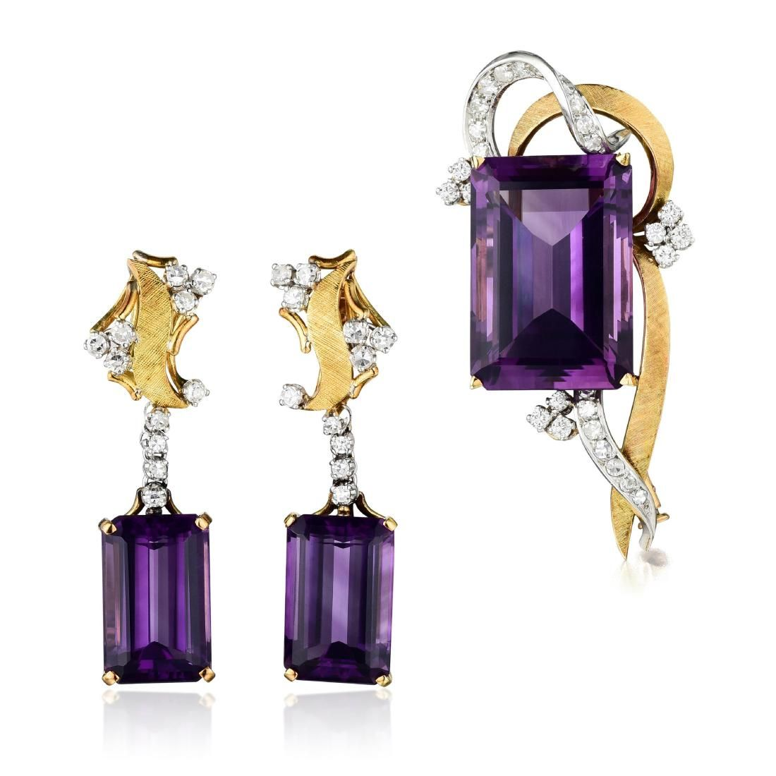A Set of Platinum and 18K Gold Amethyst and Diamond