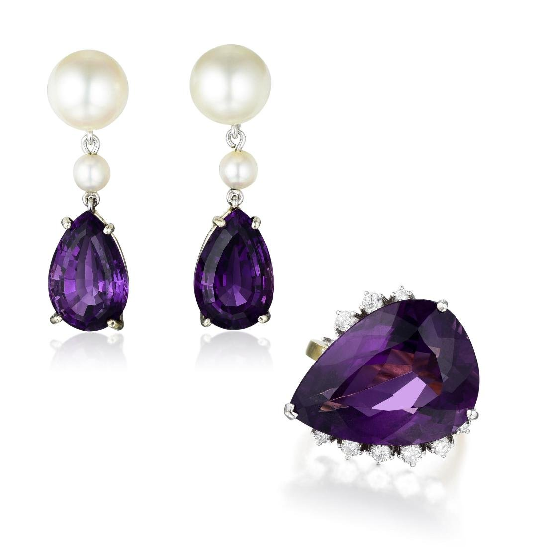 A Set of Gold Amethyst and Cultured Pearl Earrings and