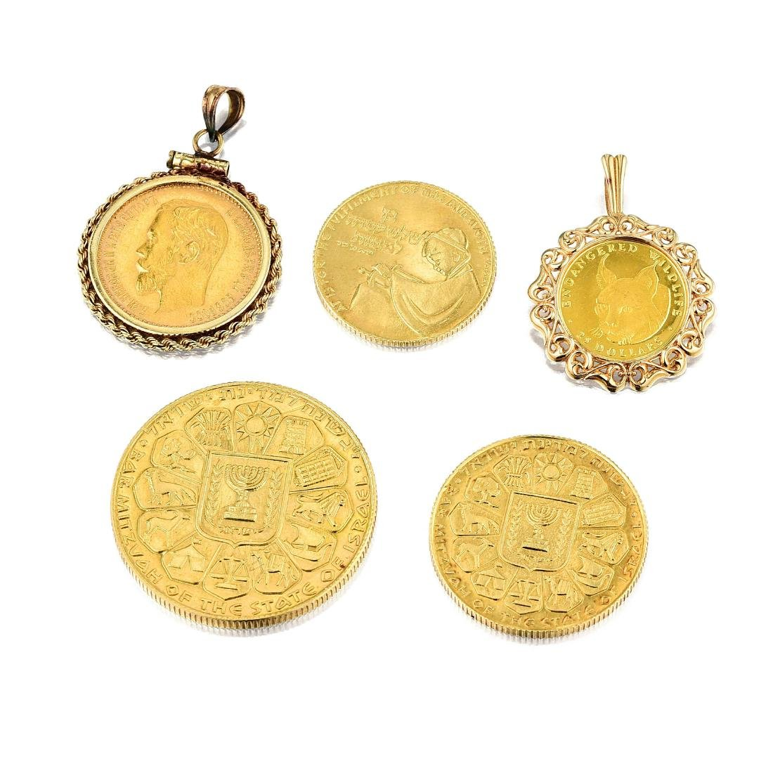 A Group of Gold Coins and Gold Coin Jewelry