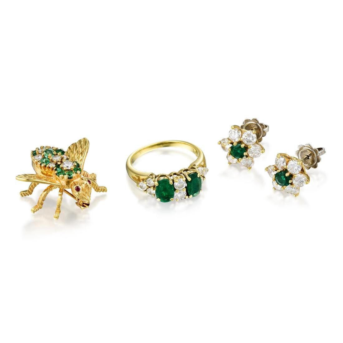 A Group of 18K Gold Emerald Jewelry