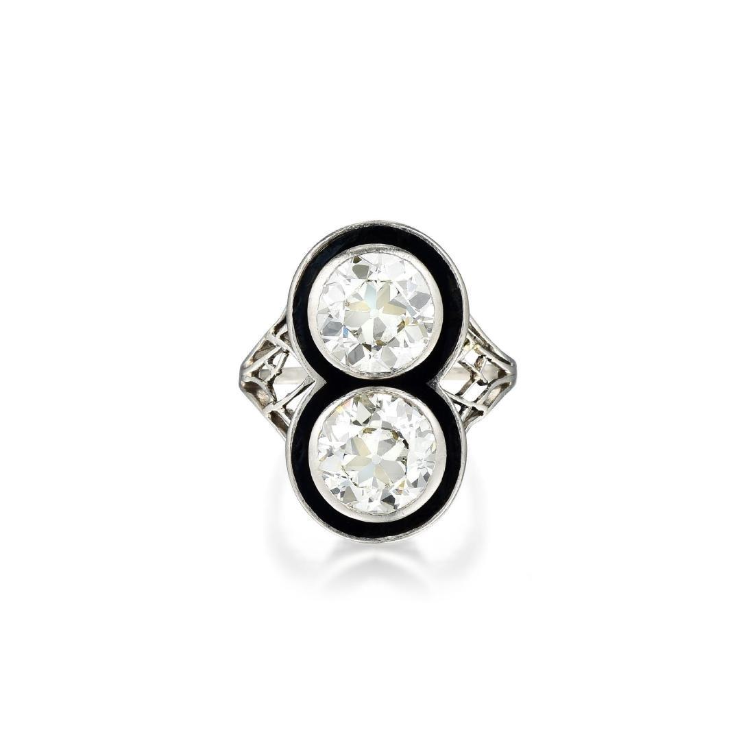 Antique Diamond and Enamel Ring