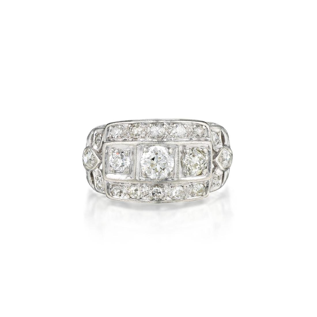 Antique Diamond Platinum Ring