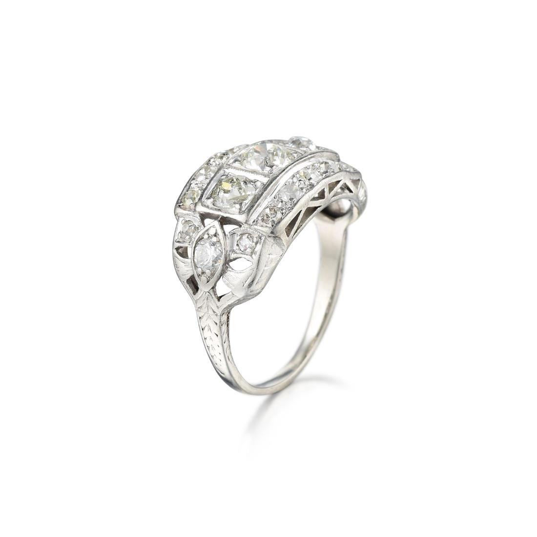 Antique Diamond Platinum Ring - 2