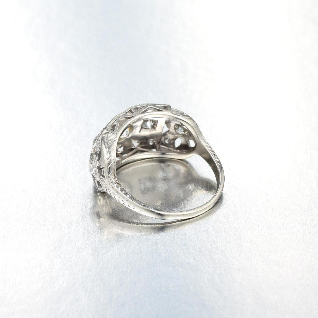 Antique Diamond Platinum Ring - 3