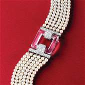 Cartier Art Deco Natural Pearl Diamond and Rock Crystal
