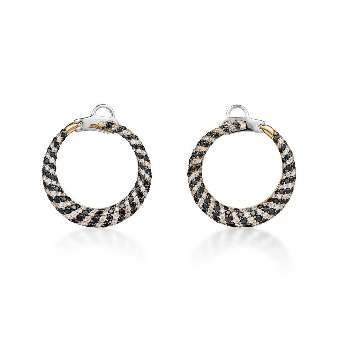 18K Gold White and Black Diamond Hoop Earrings